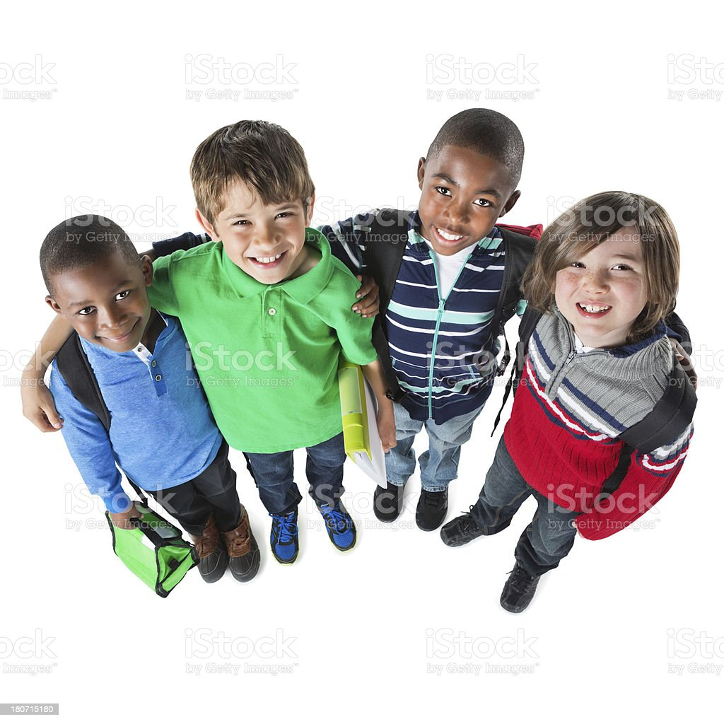 Elementary age boys ready for school; studio shot royalty-free stock photo