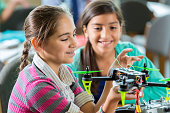 Elementary age Hispanic little girls using drone in science class