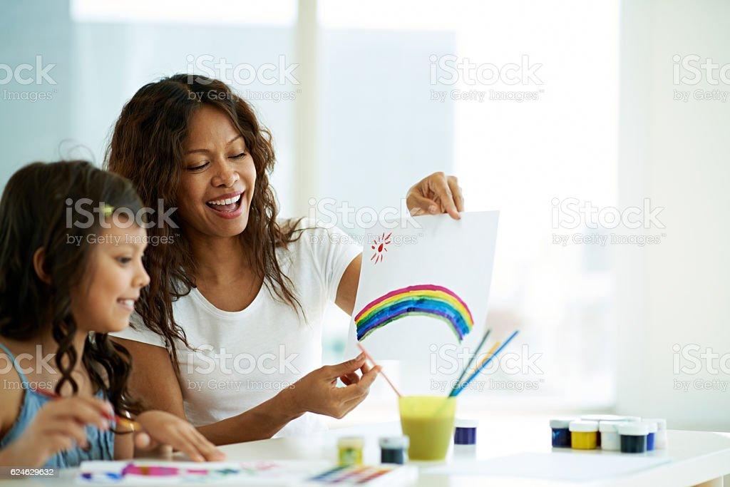 Elementary art lesson stock photo