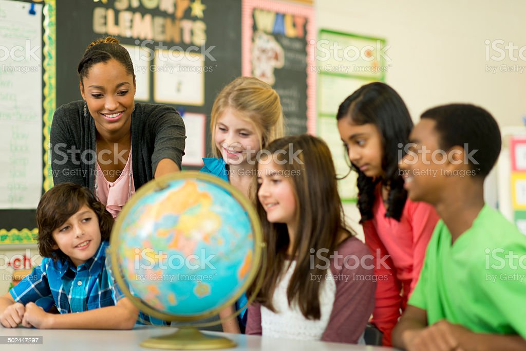 Elementary classroom stock photo
