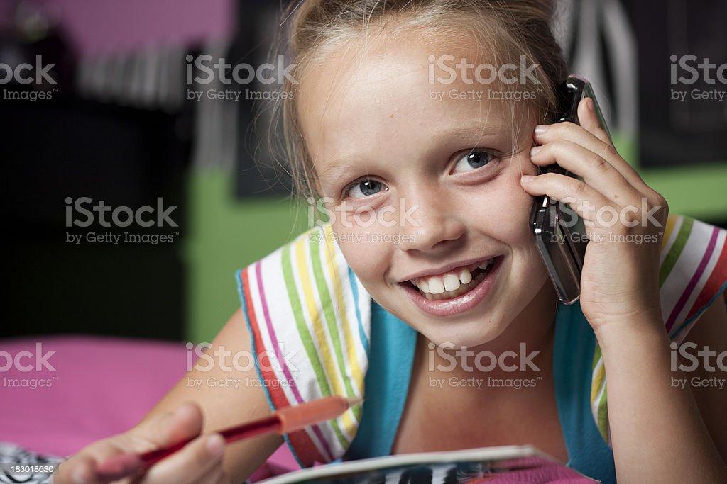 Elementary Girl Studying stock photo