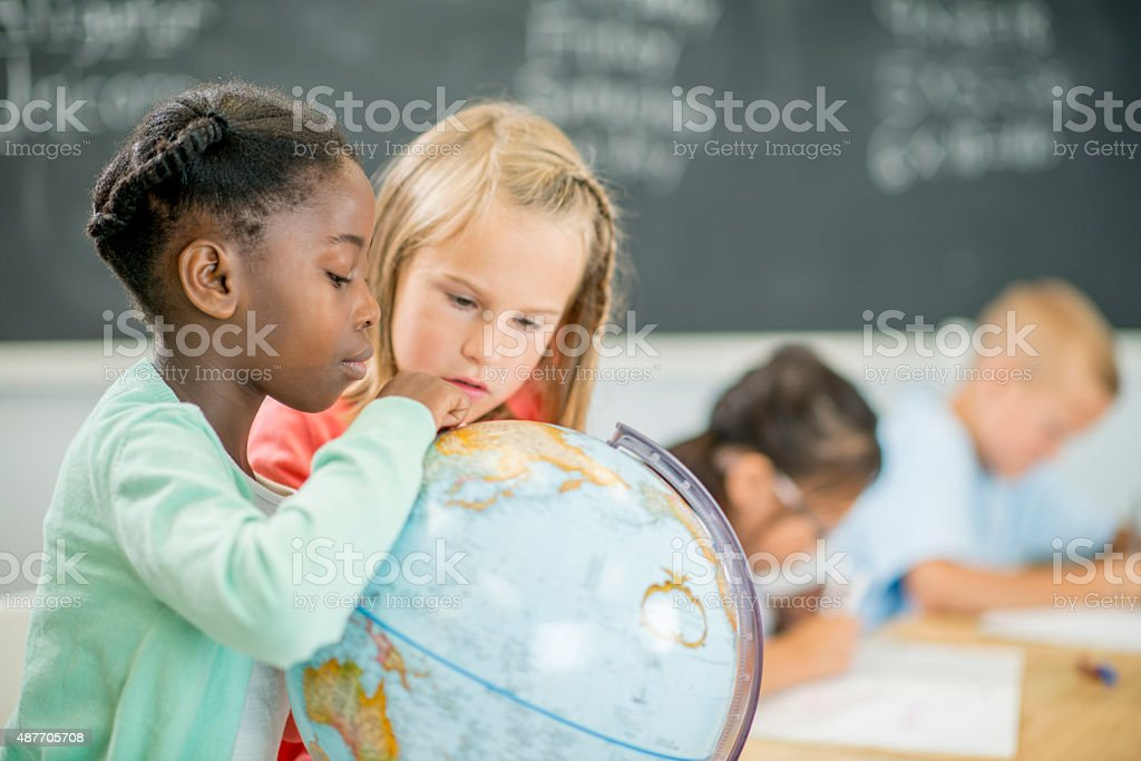 Elementary Girls in Geography stock photo