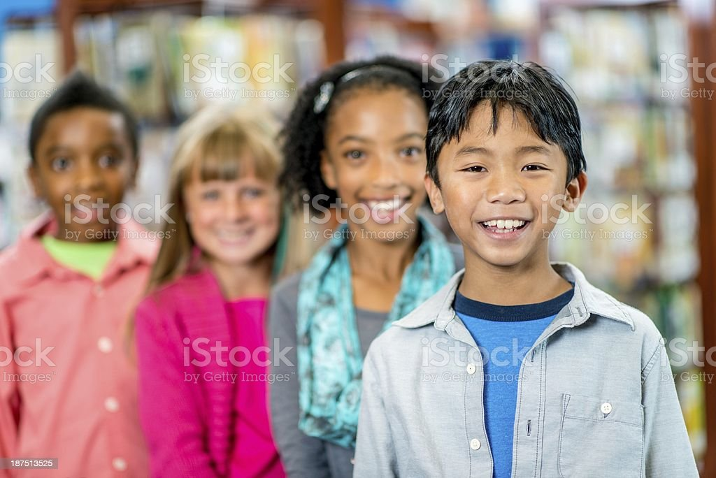 Elementary Library Students stock photo
