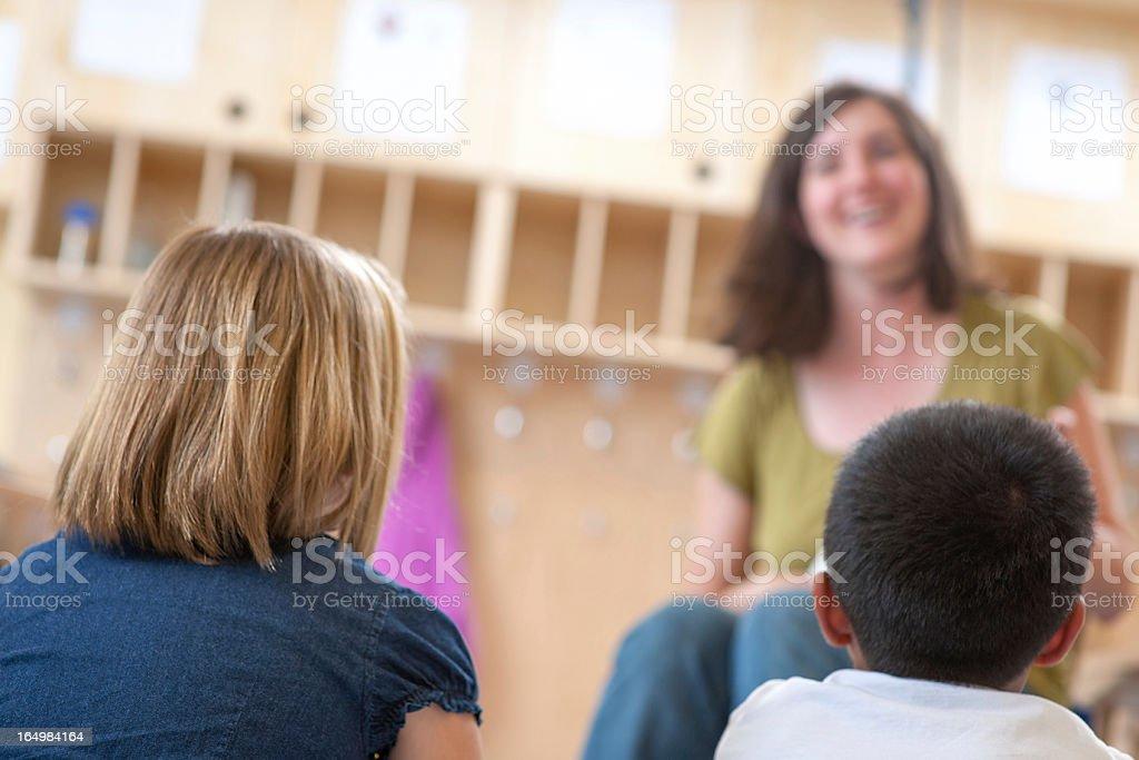 Elementary Schoo Teacher Reading to Class  (Perspective) stock photo