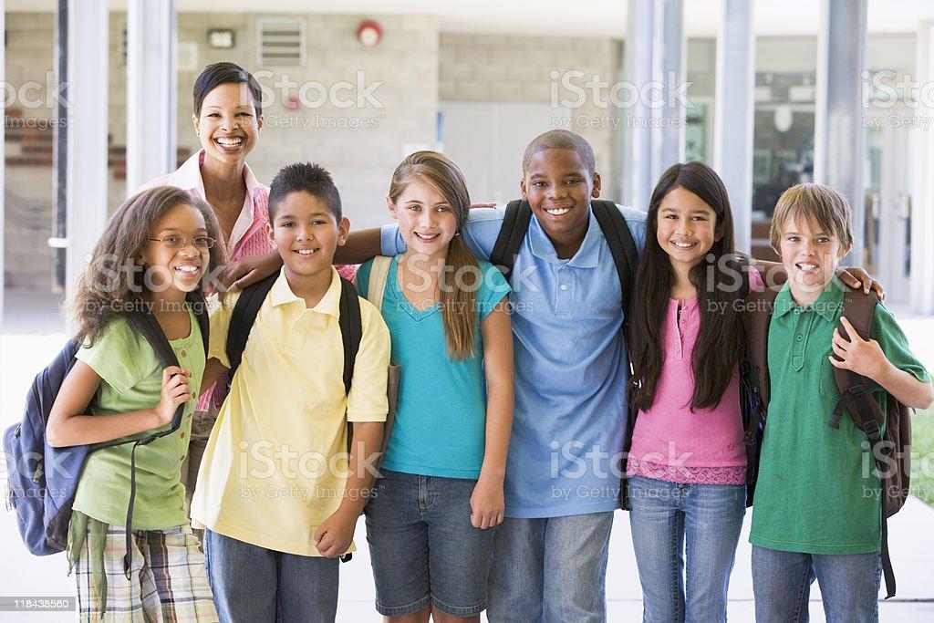 Elementary school class with teacher royalty-free stock photo