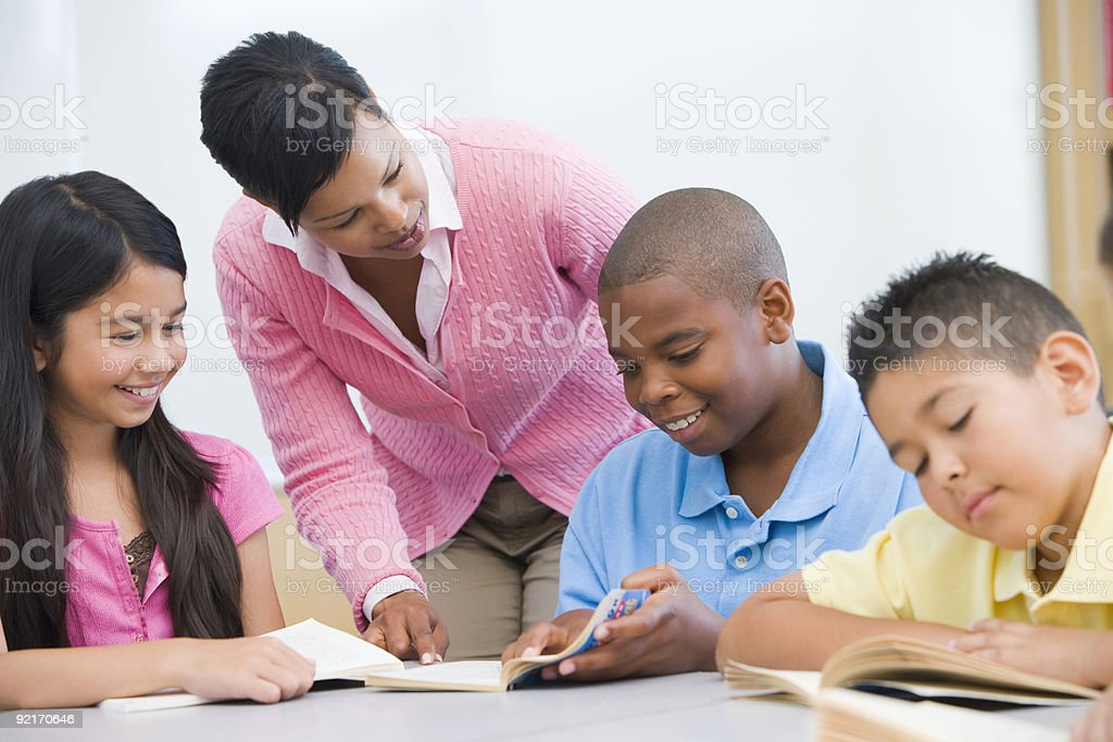 Elementary school classroom stock photo