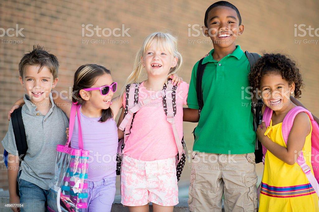 Elementary School Friends stock photo