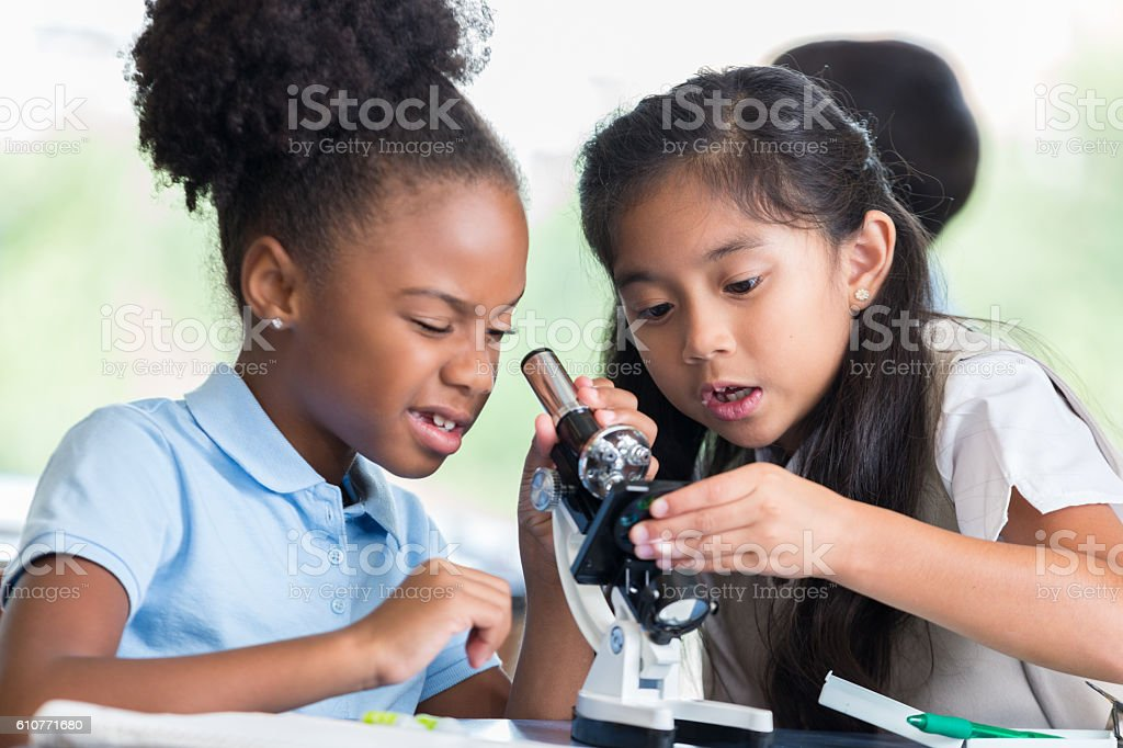 Elementary school friends use microscope in science class stock photo