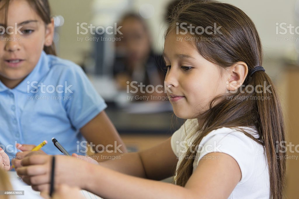 Elementary school girls doing math and science assignments in class royalty-free stock photo