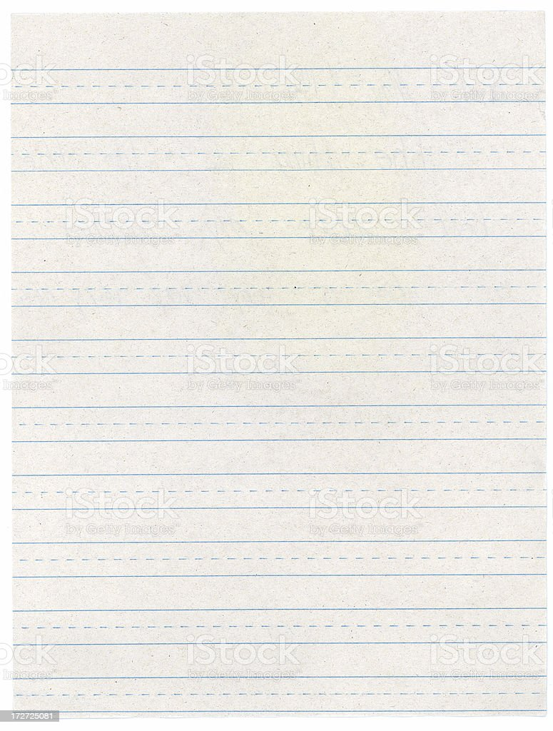 Elementary School Lined Writing Paper stock photo