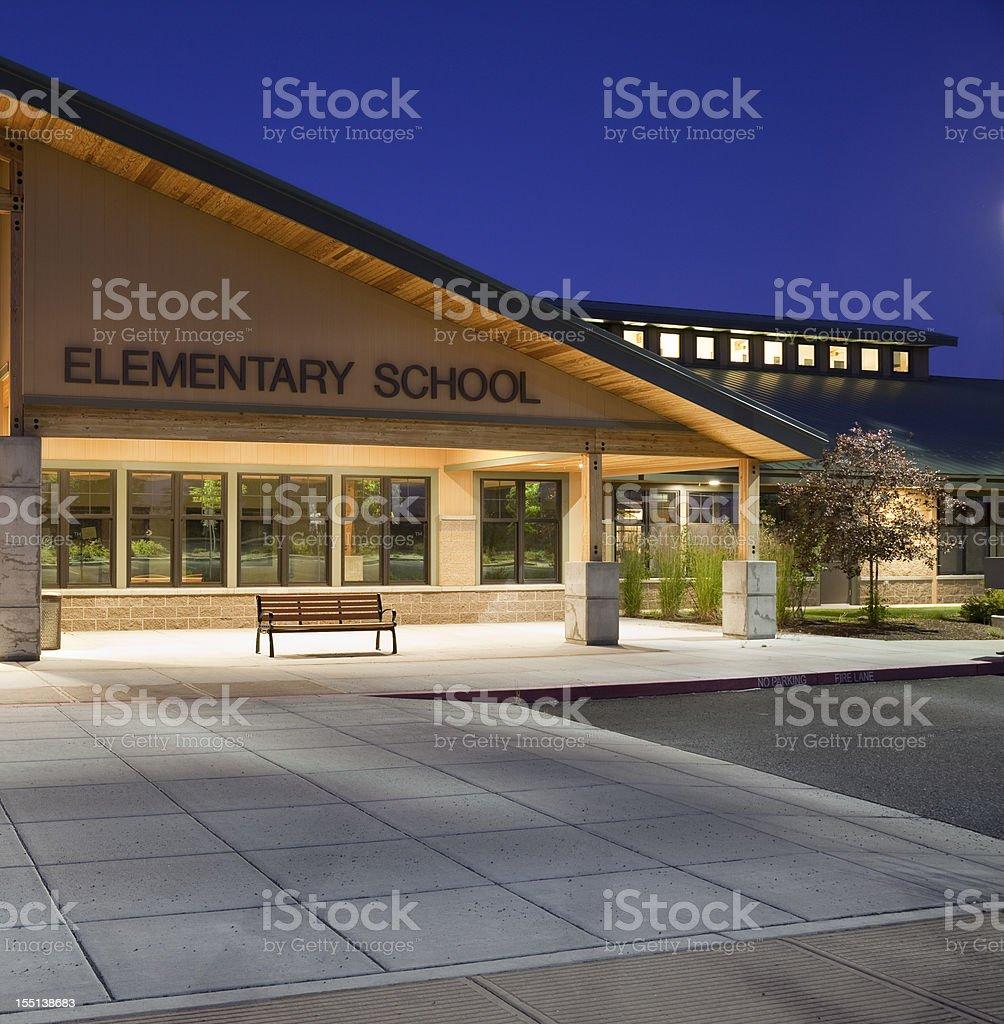 Elementary School Night Shot stock photo