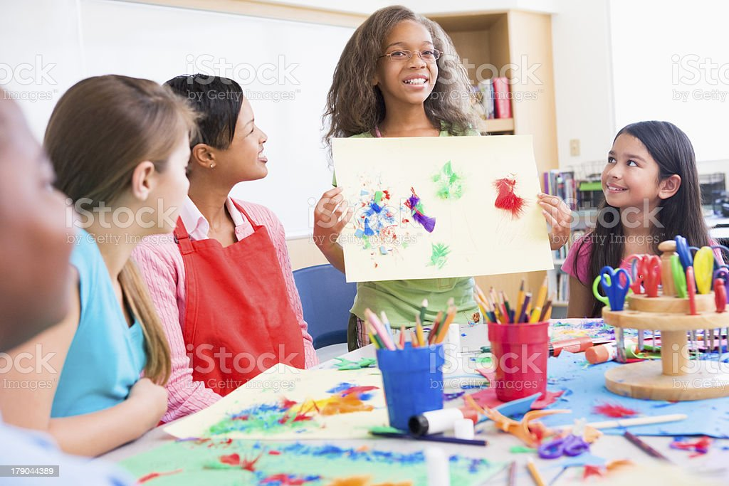 Elementary school pupil in art class stock photo