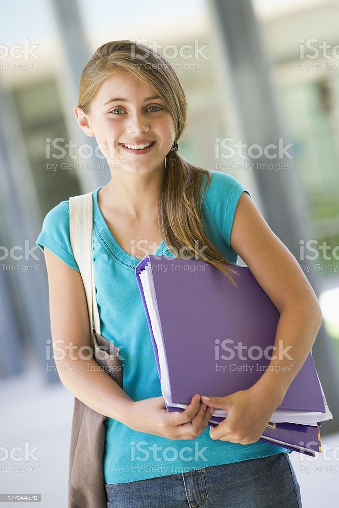 Elementary school pupil outside royalty-free stock photo