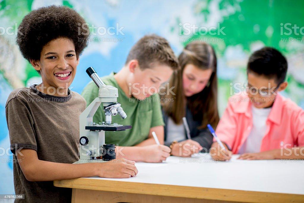 Elementary School Science Class stock photo