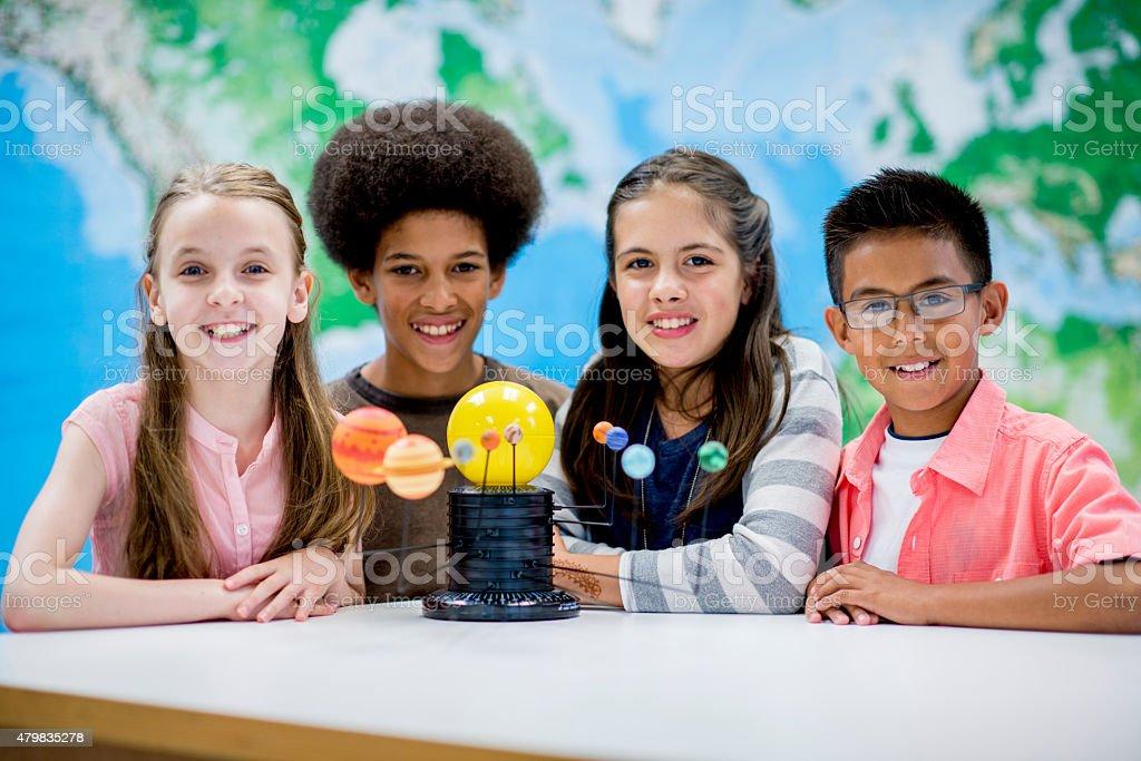 Elementary School Science Fair stock photo