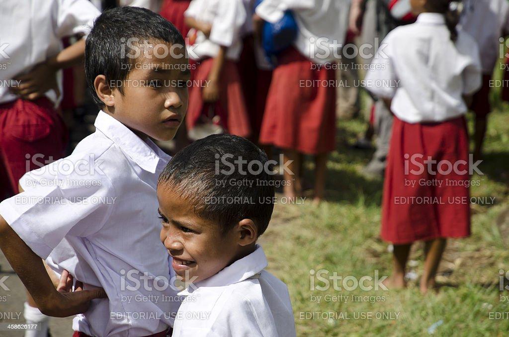 Elementary school students in Indonesia stock photo