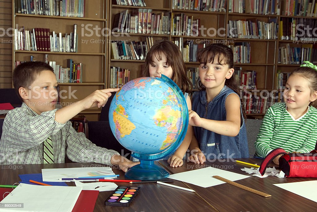 Elementary school students studying royalty-free stock photo
