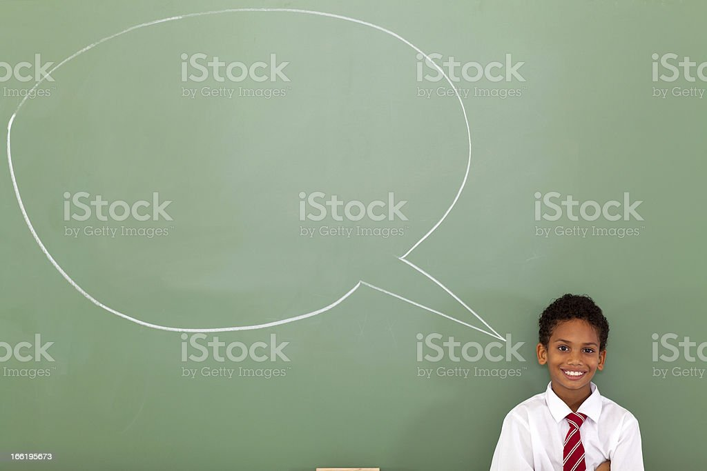 elementary schoolboy with speech bubble royalty-free stock photo