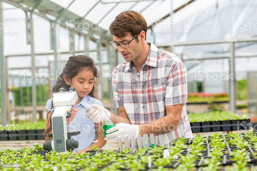 Elementary student and teacher on a field trip stock photo