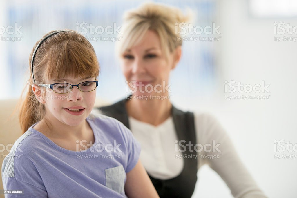 Elementary Student with Visual Impairment stock photo