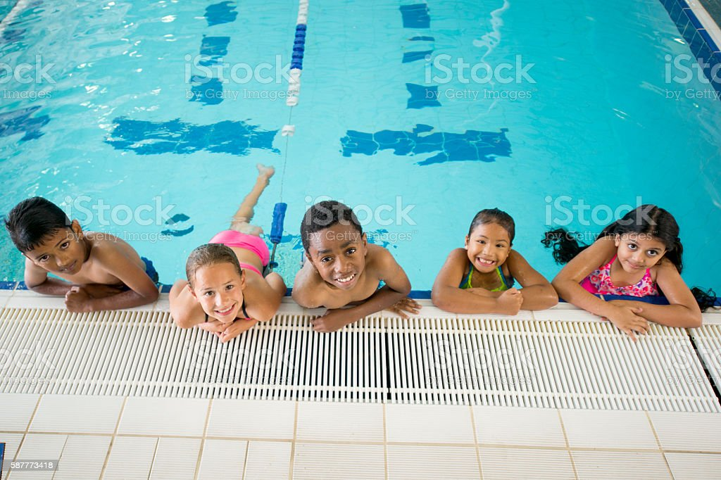 Elementary Students Taking a Swim Class stock photo