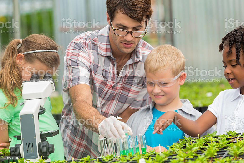 Elementary students working together with their science teacher stock photo