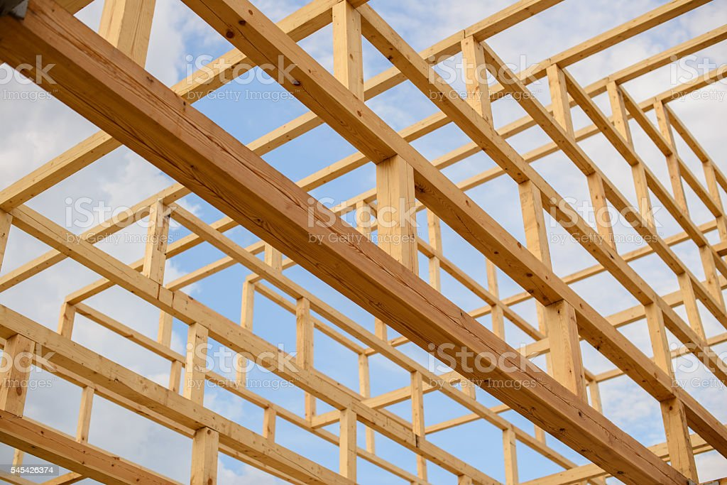 elements constituting the roof of the wooden beams Japanese pagoda stock photo