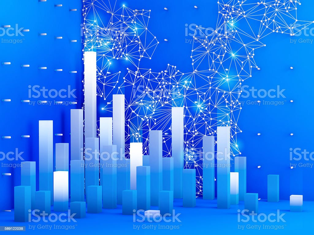 3D elements of abstract infographics on blue background. stock photo