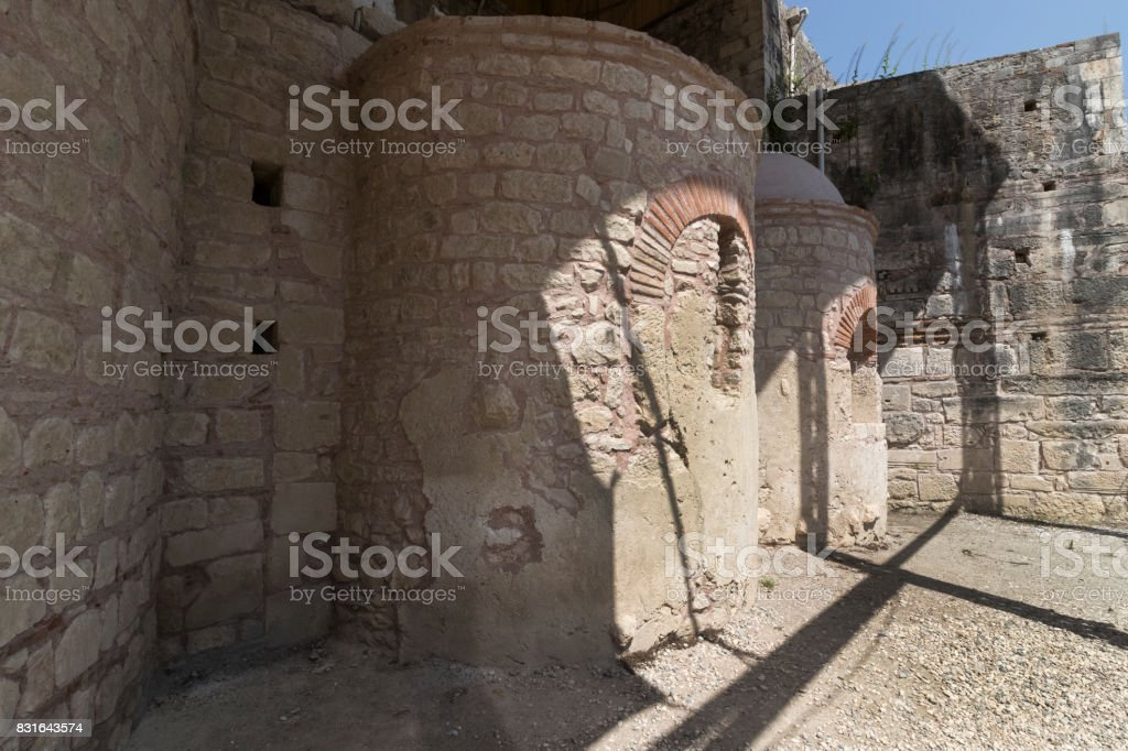 Elements of church architecture place of burial of St. Nicholas stock photo