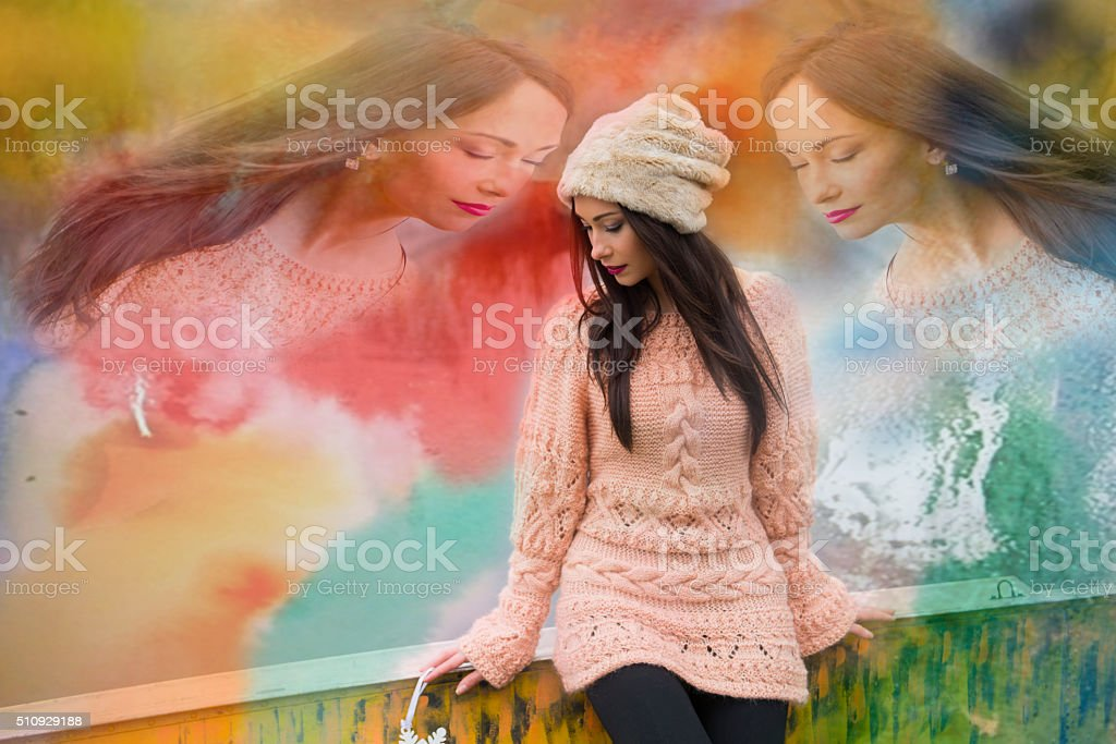 Elements, reincarnation, soul of the person, woman in harmony stock photo