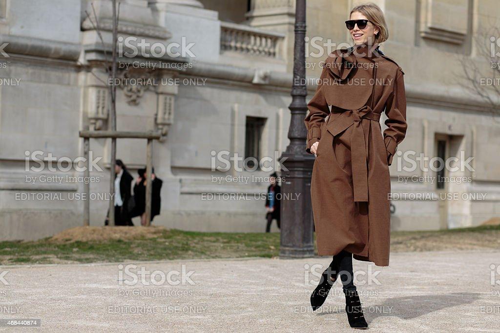 Elena Perminova before Thierry Mugler fashion show stock photo