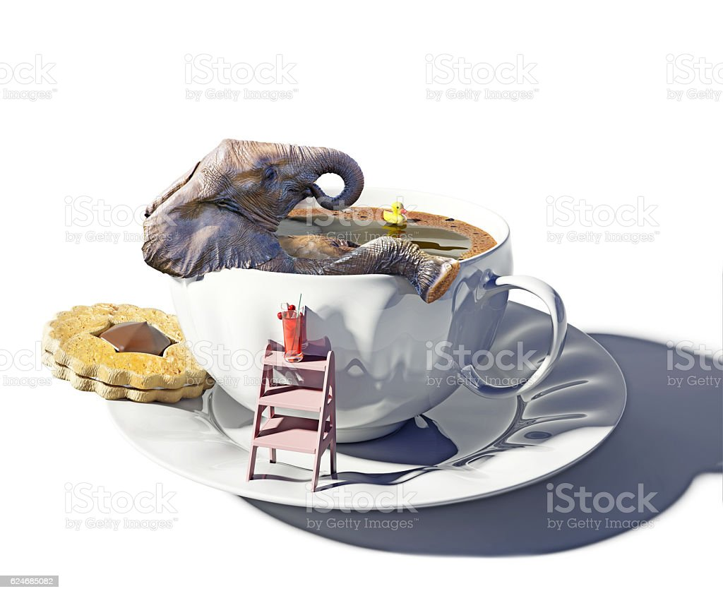 elephant and cup of tea as the bathtub stock photo