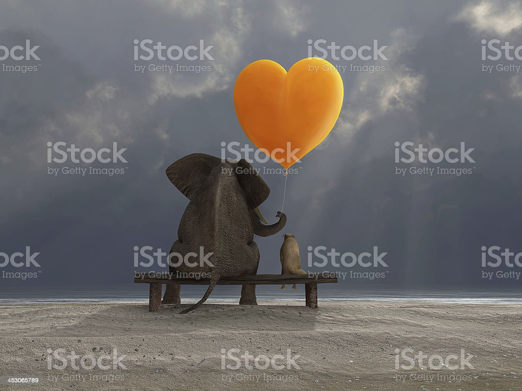 elephant and dog holding a heart shaped balloon stock photo