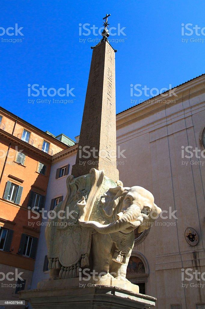 Elephant and Obelisk, Piazza della Minerva, Rome, Italy stock photo