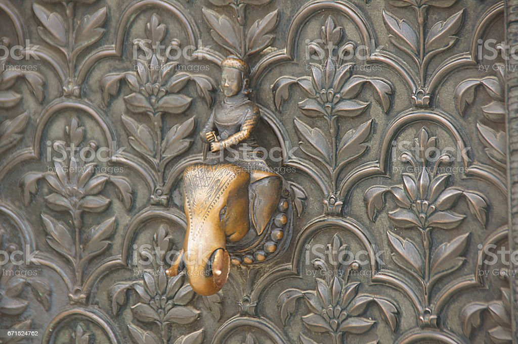 Elephant and rider brass door knob (detail) stock photo