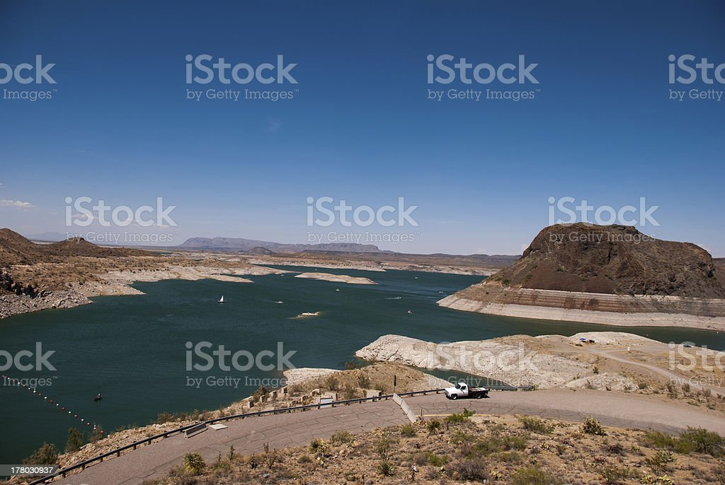 Elephant Butte Lake Water Levels Dropping in New Mexico stock photo