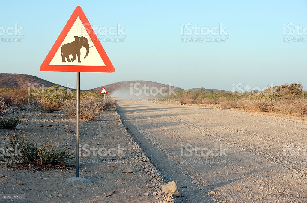 Elephant corridor - or is it Mammoths - in Namibia stock photo