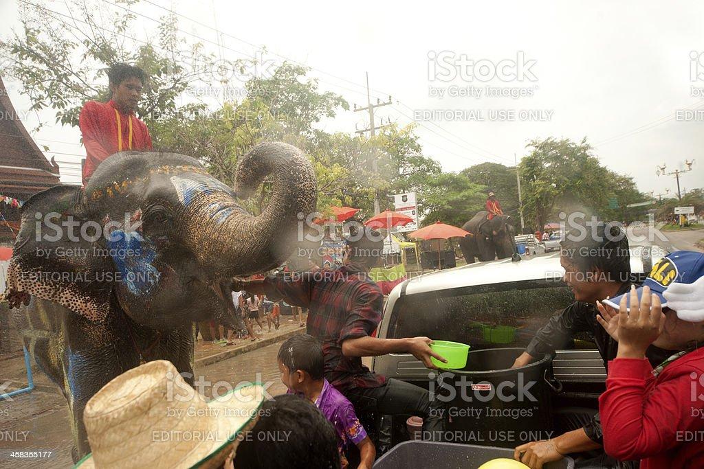 Elephant dancing and splashing water in Songkran Festival. royalty-free stock photo