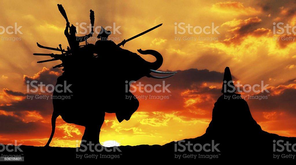 Elephant Duel The Honorary Combat on Elephant Back stock photo