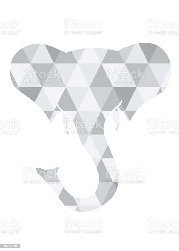 Elephant Head Geometric Triangle Shape stock photo