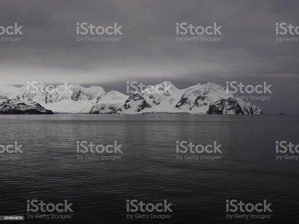Elephant Island at dawn in Antarctica stock photo