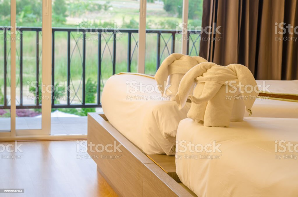 Elephant made by towel in thai hotel stock photo