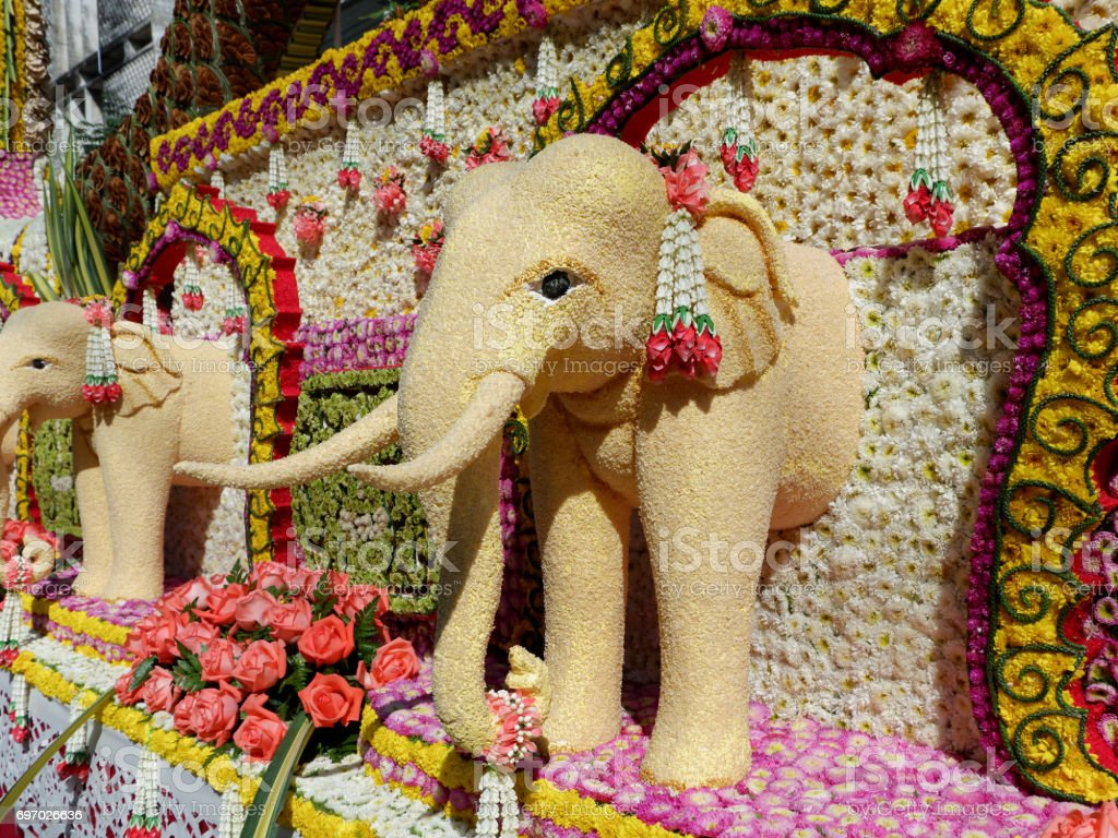 Elephant made from sesame seeds (Chiang Mai Flower Festival, Thailand) stock photo