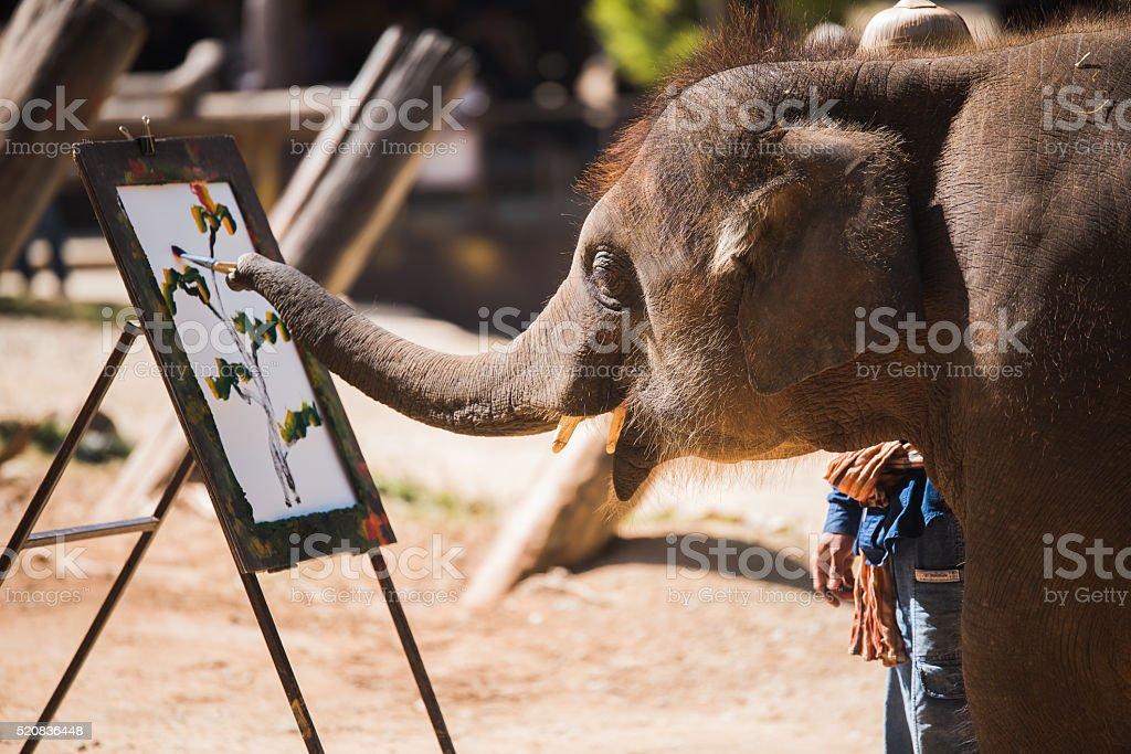 elephant painting stock photo
