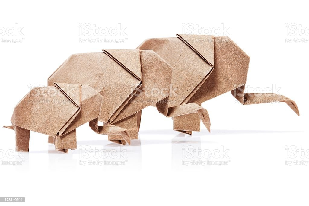 Elephant paper on a white background. stock photo