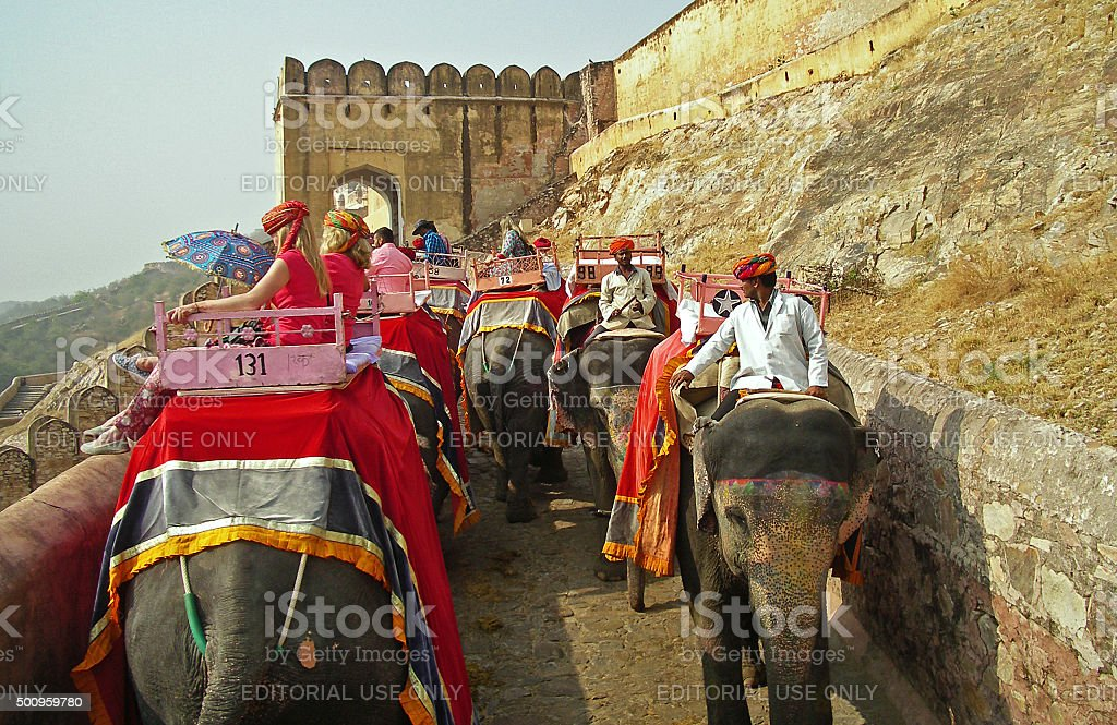 Elephant ride at Amber fort, Rajasthan stock photo