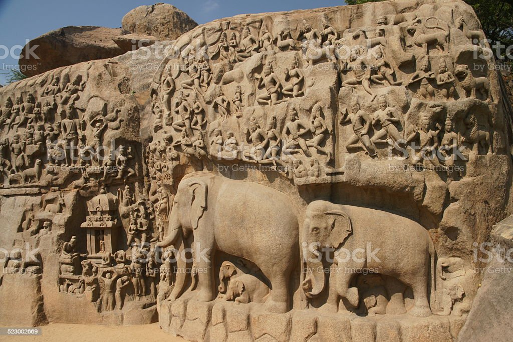 Elephant rock carving Descent of the Ganges in Mamallapuram, India stock photo