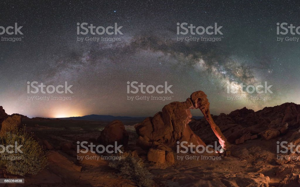 Elephant Rock Milky Way Panorama stock photo