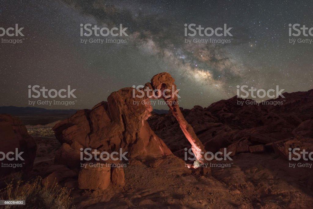 Elephant Rock Milky Way stock photo