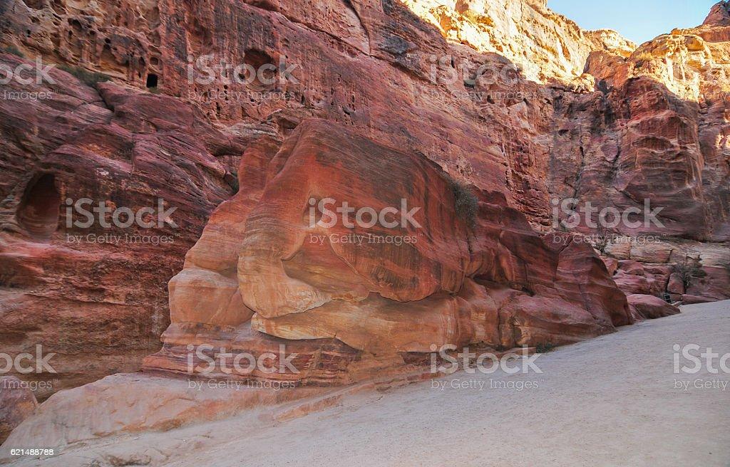 Elephant Shaped Rock - Petra, Jordan stock photo